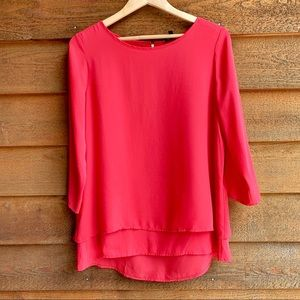 The Limited Coral Layered 3/4 Sleeve Top